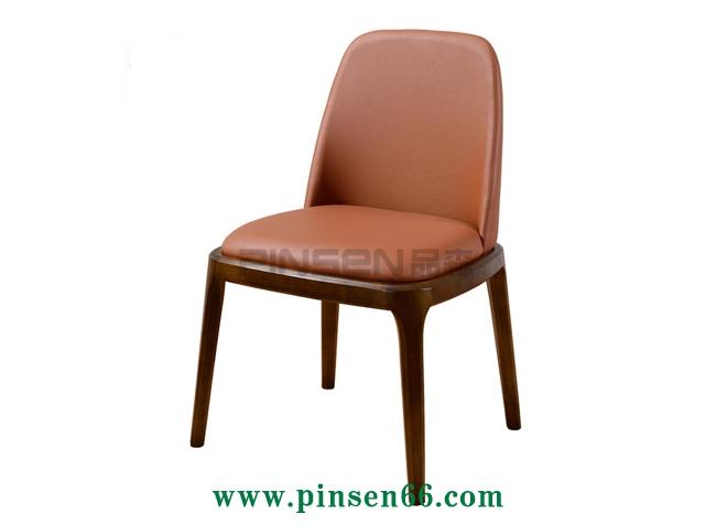 简约风格休闲椅布软包木椅子主题餐厅椅子