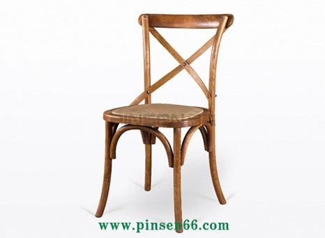 美式实木餐椅原木做旧火锅椅