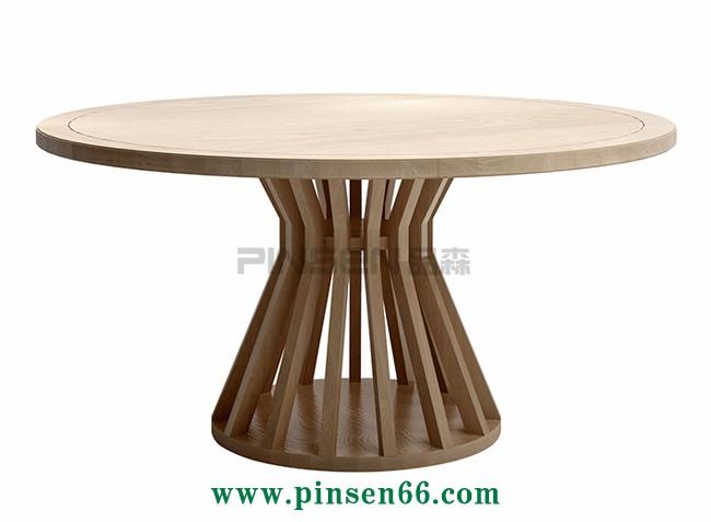 北欧实木主题餐厅餐桌圆桌