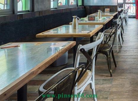 (炭舍)美式乡村风主题西餐厅餐桌椅组合餐饮