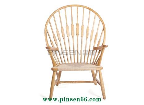 水曲柳实木家具孔雀椅 休闲椅藤椅 北欧经典设计