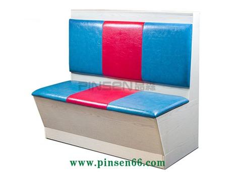 蓝红双色格子软包火锅卡座沙发餐桌椅