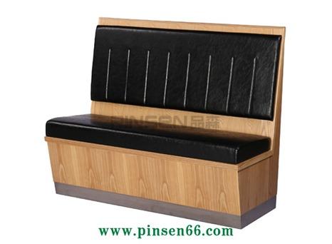 实木黑色软包火锅卡座沙发餐桌椅