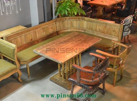 欧式简约茶餐厅主题餐厅实木卡座沙发-主题餐厅