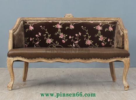 欧式花主题餐厅实木卡座沙发-主题餐厅桌椅厂家