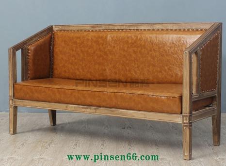 欧式双面主题餐厅实木卡座沙发-主题餐厅桌椅厂