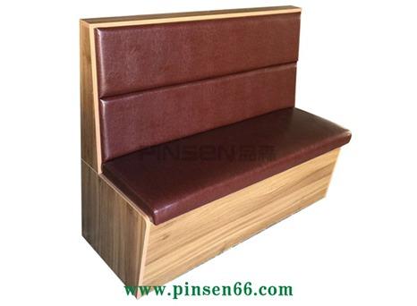 实木长方条状软包火锅卡座沙发餐桌椅